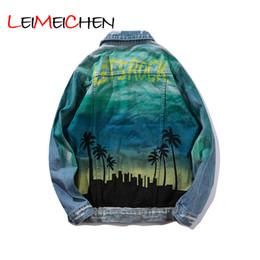 Chaquetas originales online-Europa y los Estados Unidos, chaqueta original para hombre, ropa hip hop, denim, coco, chaqueta de punto estampada, chaqueta suelta para hombre.