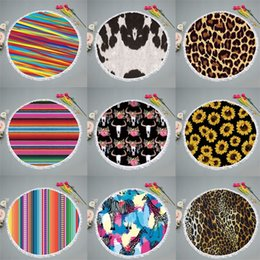 polyester fiber padding Coupons - Sunflower Leopard Print Beach Towel Bull Head Blanket Giraffe Yoga Pad Color Stripe Round Carpet Polyester Fiber 23 5yd C1