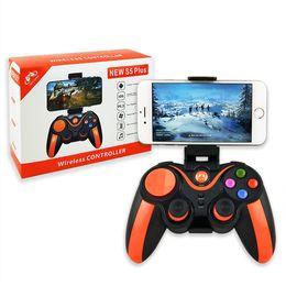 Controlador de juegos para android tv box online-NUEVO S5 Plus Game Gaming Controller Bluetooth Gamepad inalámbrico para Android iOS Teléfono PS3 Smart TV Box Joystick