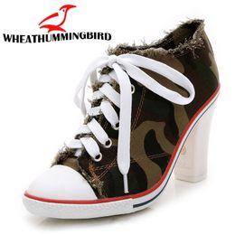 Kadın moda kanvas ayakkabılar denim payetli yüksek topuklu zapatos lace up seksi yüksek topuklu bayan ayakkabı kadın tuval MC-52 pompalar nereden