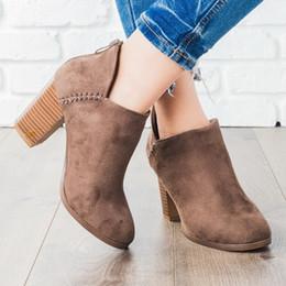 Scarpe invernali belle online-Laamei Nice Winter Scarpe da donna Stivaletti in pelle scamosciata con tacco alto Autunno femminile Casual Mujer Leopard Booties Feminina Slip On Shoes