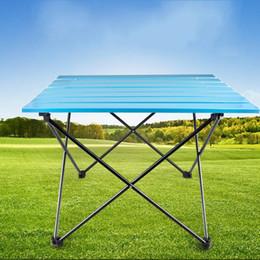 Einfacher schreibtischtisch online-Outdoor Tragbare Tisch Aluminiumlegierung Folding Ultra Light Tische Blau Weiß Freizeit Abnehmbare Starke Langlebig Einfache Schreibtisch 55qx2D1