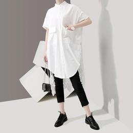 estilo branco do ponto da camisa Desconto 2019 Estilo Coreano Mulheres Camisa Blusa Branca Sólida Longo Voltar Lace Stitch Lady Casual Plus Size Camisas Femininas chemise femme F360