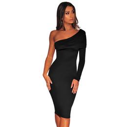 e8466ee5e80 2019 robe bodycon Une Épaule Élégante Moulante Midi Robe Femmes Noir À  Manches Longues Oblique Bandage