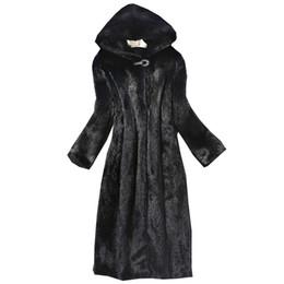 2019 weiße lammfelljacke 2018 Herbst Winter Neue Damen Pelzmantel Nachahmung Nerz Mantel lange Windjacke Cap Europa und die Vereinigten Staaten große Größe warm
