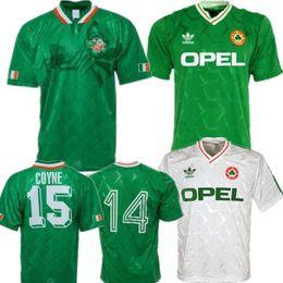 camisetas de lyon Rebajas 1990 Irlanda retro jersey de fútbol 1994 Copa del Mundo de España principal camisa verde Equipo de Fútbol Nacional personalizadas uniformes de fútbol blanco ausente de ventas