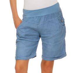 2019 pantalones cortos de talle alto Causal mujeres sueltas de cintura alta botón bolsillos pantalones cortos de verano elástico de pierna ancha corta Spodenki Damskie Pantalones Cortos Mujer 1 # rebajas pantalones cortos de talle alto
