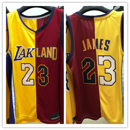 2cd77a01a Los Angeles new 23 LeBron James Lakers jersey Cleveland red gold Cavaliers Jersey  2019 2018 two 2 color