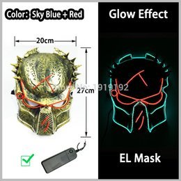 power el wire Promo Codes - Supplies 12 Style Energy Saving LED Neon Mask 10 Color Optional El Wire Mask Powered By DC-3V Driver for Halloween Decor Free Shipping