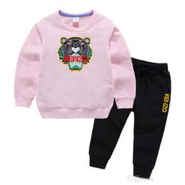 2019 roupa de saia polka dots Marca Tiger roupas de bebê menino infantil de luxo designer miúdos Define 2-7T Children O pescoço hoodies e calças 2pcs / set Meninos Meninas Cotton