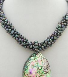 Collar de abulón negro online-collar N0801013 6Strds Black Pearl Collar de colgante de concha de abalona y cierre de camafeo