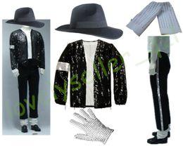 Детские джинсы онлайн-MJ Michael Jackson Billie Jean Suits Sequin Jacket+Pants+Hat+Glove+Socks Kids Adults Show Black Sequined Pacthwork 4XS-4XL