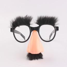 2019 óculos de truque Dia das bruxas nariz grande óculos engraçados nariz grande cabelo sobrancelha adereços halloween bigode cosply adereços partido truque adereços