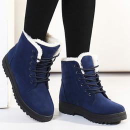 Botas de invierno ata hasta la piel online-2019 Mujeres de piel de invierno botas para la nieve 2018 para mujer zapatos calientes más el tamaño de la plataforma con cordones de gamuza botines de moda femenina tacones bajos