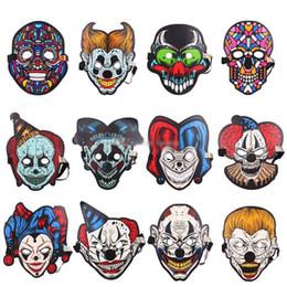 Máscaras de airsoft cosplay de cara completa online-2019 Halloween LED Control Voice Luminous Light Airsoft Máscara de cara completa Máscaras de Cosplay Disfraces Carnaval Glowing Flash Party Supplies DHL