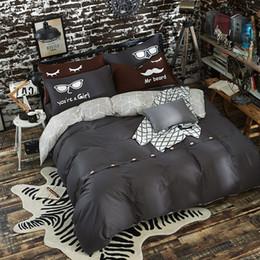 Biancheria da letto rosa nera piena online-Completo di biancheria da letto nero in cotone 100% tinta unita con bottone decorativo 4 pezzi / set