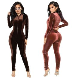 korean style jumpsuits Coupons - L0220 European and American fashion slim suit women's Korean velvet jumpsuit Rompers Autumn and winter new style