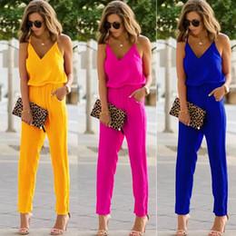 2019 нейлоновые женщины беременные Модный дизайн яркий цвет 100% новый женский спагетти ремень широкие комбинезоны ноги V-образным вырезом ползунки брюки