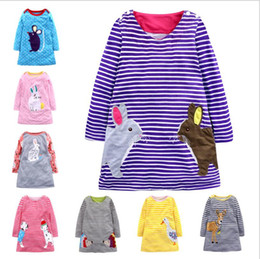 Vestiti della principessa polka dot online-Vendita al dettaglio 8 colori neonata abiti firmati Natale Capodanno cervo Stripe Pois Abito in cotone cartone animato abiti da principessa abiti per bambini