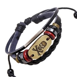 skull bracelet clasps Coupons - Pirate Style Skull Charm Beaded Bracelets Masculina Strand Braided Woven Beads Leather Wristband Women Party Jewelry Accessories