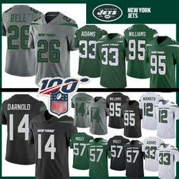 L campana online-14 Sam Darnold 26 Le'Veon Bell Jets Calcio Jersey Mens New York 33 Jamal Adams 57 C.J. Mosley 12 Joe Namath Jets 95 Quinnen Williams Nero