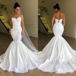 Vestidos novia corsés online-Vestidos de novia africanos del tamaño extra grande del corsé de la sirena Vestidos de novia Vestido de Noiva robe de mariée Cuello de espagueti con cordones