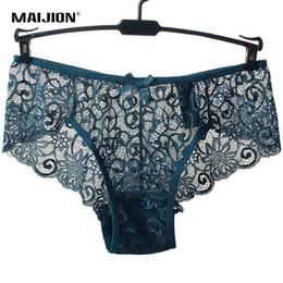 Dentelle pleine slip en Ligne-Maijion Femmes Sexy Full Lace Panties Taille Européenne Taille Taille Normale Bowknot Mémoires Sous-Vêtements, Exotique Été Transparent Intimates