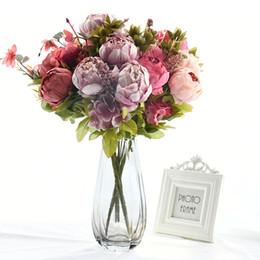 fitas de hula Desconto 13 chefes / Bouquet peônias flores artificiais de seda Peonies Bouquet 2 Bud Flores Casamento Casa decoração falsificação Peony Rose Flower