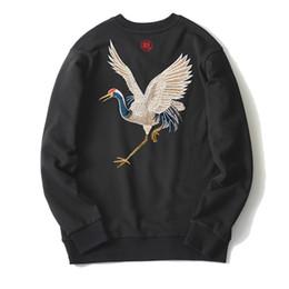 Longo, hoodies, asas on-line-Guindaste voador bordado Hoodies asas douradas de manga longa homens camisolas