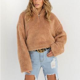 jumper de malha macia Desconto Outono Inverno Nova Mulheres Winter Fluffy Cortar Turtleneck pulôver de malha Plush Quente Zip-se solto camisola Jumper Knitwear