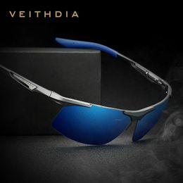 Óculos de segurança on-line-VEITHDIA Alumínio Magnésio dos homens Óculos De Sol Dos Homens Polarizados Revestimento Espelho Óculos oculos Masculinos Óculos Acessórios Para Homens 6562