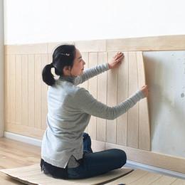 pintura a óleo fundo preto Desconto 3D papel de madeira parede estéreo afixada na TV fundo saia papel de parede sala papel de parede à prova d 'água parede decorada quarto