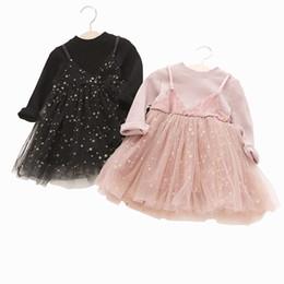Chalecos de bebé de manga larga online-Nueva primavera otoño niñas princesa vestido versión coreana Pentagrama vestido de manga larga tejer ropa de niña vestido niños vestidos