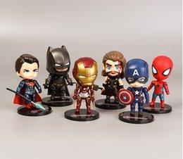 regali fatti di ferro Sconti 2019 Nuovo 6 anime fatti a mano giocattoli Vendicatori bambola Iron Man Spider-Man Capitan America ornamenti giocattoli per bambini regali