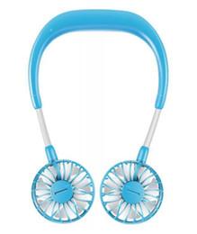 Portable USB Neckband Two-heade Piccolo ventilatore Lazy Neck Hanging Dual Mini Fan Sport Ventola girevole girevole a 360 gradi da yongnuo iii fornitori