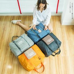 Cubos de embalaje online-4styles impermeable bolsa de viaje de nylon de gran capacidad de las mujeres bolso de la letra bolsas de viaje para el equipaje de mano Embalaje Cubos de almacenamiento Organizador FFA2283-A