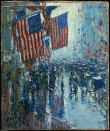 olio tela di pioggia Sconti Childe Hassam Rainy Day Fifth Avenue Home Wall Art Decor dipinta a mano HD Stampa pittura a olio su tela Wall Art Canvas Pictures 190831