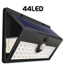 Ha portato le lampade esterne online-LED RV Motion Sensor Solar Exterior Portico Utility Light Fixture 44 LED Nero