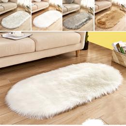 2019 combinación de ducha Alfombra de felpa larga Alfombra de lana de imitación Alfombra de piso peluda Sillas artificiales Sala de estar Oval Súper suave Cómodo Dormitorio suave