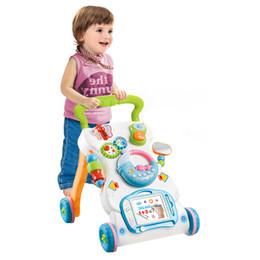 Bebê sentar brinquedos on-line-Multifuncional andador brinquedos da criança Trolley Sit-to-Stand ABS Musical Walker com altura ajustável para criança