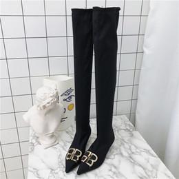 2019 puntini punta punta 2018 autunno nuovo sopra il ginocchio stivali punta di commercio estero stiletto elastico stivali da donna nero ljj 0108 sconti puntini punta punta