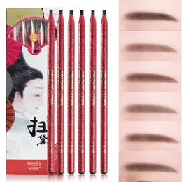2019 plantilla de polvo de ceja Caliente del estilo chino lápiz de cejas maquillaje resistente al agua 6 colores pluma de la ceja suave Delineador de ojos de larga duración Tear lápiz de cejas