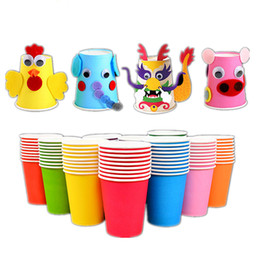 Vasos desechables de boda online-10 unids Pure Color Paper Cups Party Disposable Juice Cup DIY Decoración Baby Shower Kids Birthday Wedding Picnic vajilla suministro