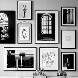 cartaz abstrato preto branco Desconto Posters Poster Abstract Black White Vintage Linha nórdicos e os impressões da parede Arte em tela pintura de parede Pictures for Living Room Decor