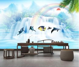 fiber flow Coupons - 3d room wallpaper custom photo non-woven mural Flowing water and wealthy seascape landscape painting sofa living wallpaper for walls 3 d