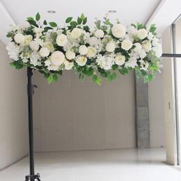rubans de satin Promotion DIY rangée de fleurs Acanthosphere Rose Eucalyptus fleurs de décoration de mariage rose pivoine fleur mélange plante hortensia arc rangée de fleurs artificielles
