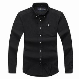Polo largo libre de la manga online-Nueva moda pequeño caballo Oxford hombres camisas de manga larga envío gratis camisas de vestir para hombre de alta calidad para hombre camisas de negocios polo Chemise Homme
