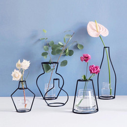 bouquet vase Coupons - 10styles INS Flower Vase Pot Metal Ornament Flower Bouquet Holder Display Stand Plant Flower Drying Rack DIY party Home Decoration FFA1980