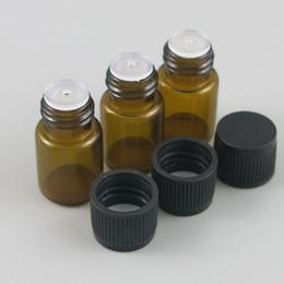 2019 essenze cosmetici all'ingrosso 100 X 2ML Mini Ambra Glass Bottiglia di olio essenziale Orifice riduttore tappo Brwon bottiglia di vetro fiale Piccolo vetro per liquidi