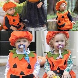 Atacado Halloween Bebê Crianças Abóbora Terno Top Blusa Vestido Chapéu Roupas Trajes Decorações de Natal supplier kids dresses wholesales de Fornecedores de vestidos dos miúdos por atacado